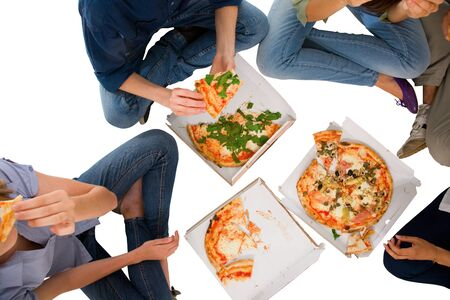 eating pizza: teenagers eating pizza
