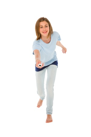 wii: teenage girl using wii Stock Photo