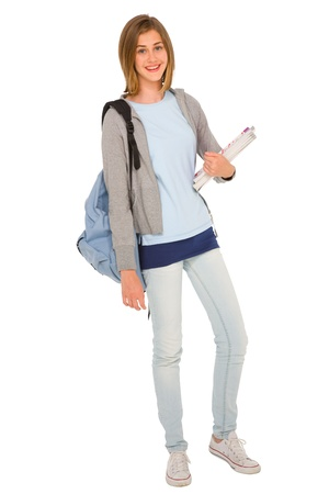 teenage girl with backpack and books photo