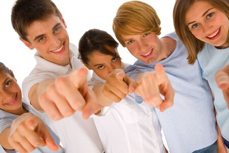 adolescence: group of teenagers pointing Stock Photo