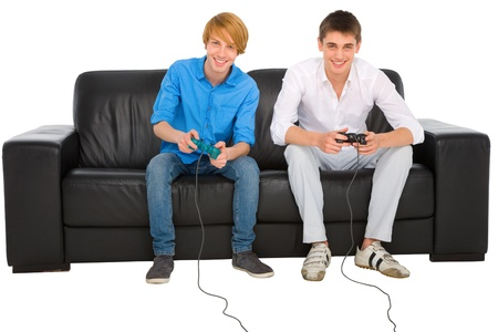 playstation: teenagers playing with playstation