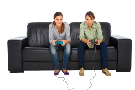 teenagers playing with playstation photo