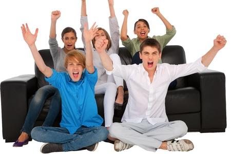exhilaration: teenagers rejoicing Stock Photo