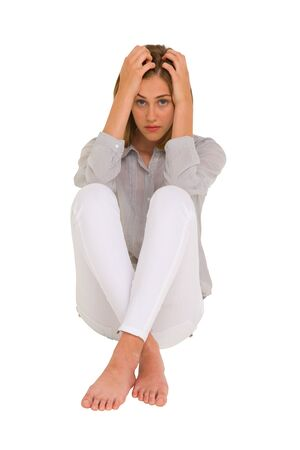 sad girl with hands on head Stock Photo - 15335329