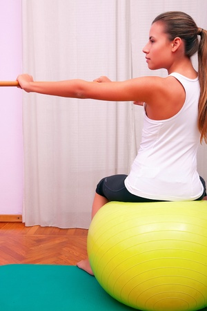 exercises control basin trunk with bobath ball fitball stabilization exercises Stock Photo - 19328338
