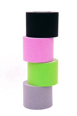 taping: rolls of kinesio tape Stock Photo