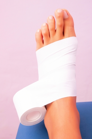 functional: low-dye taping functional bandage tibial tarsal Stock Photo