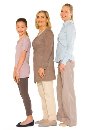 granddaughter grandmother young mother standing on white background Stock Photo - 20587827