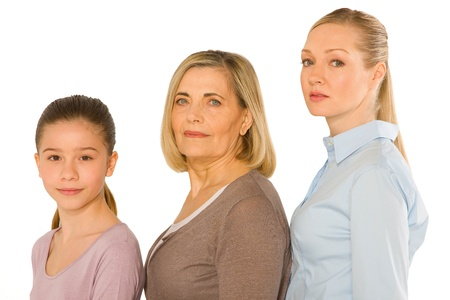 granddaughter grandmother young mother standing on white background Stock Photo - 20587982