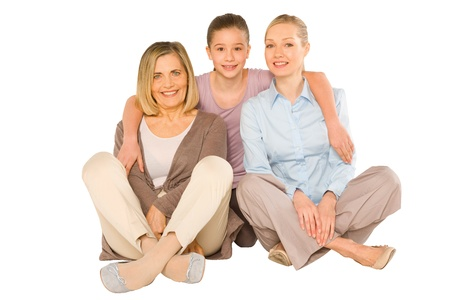 granddaughter grandmother young mother sat on white background Stock Photo - 20587643