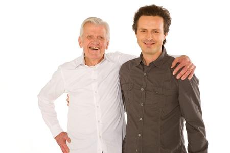 Eldery Vater granfather und Sohn steht auf wei?en Eisblume Standard-Bild - 20587642