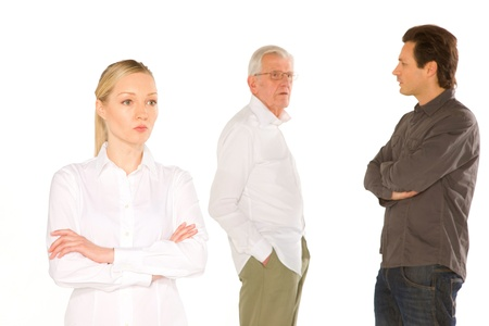 husband wife: husband wife father in law standing on white background