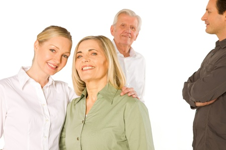 father in law: husband wife father in law mother in law standing on white background