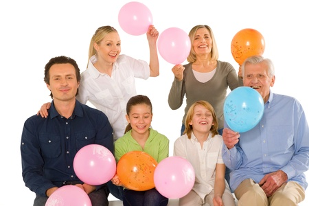 grand kid: family birthday party with baloons Stock Photo