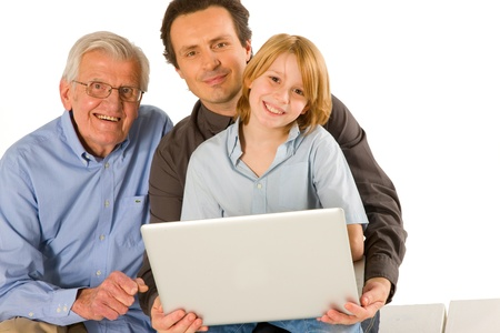 family using pc tablet photo