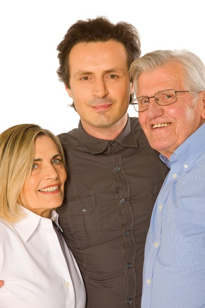 father in law: couple with father in law Stock Photo
