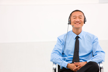 customer service representative: Male customer service representative Stock Photo