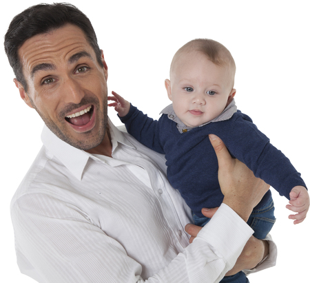 casuals: A photo of cheerful man with baby boy Happy father and son are wearing casuals They are spending leisure time isolated over white background