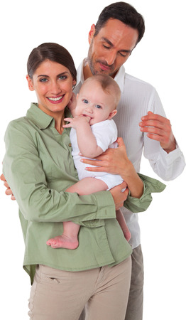 Portrait of happy mother and father with baby Family of three are spending quality time together They are in casuals isolated over white background