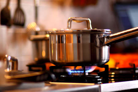 gas cooker: Cook Stock Photo