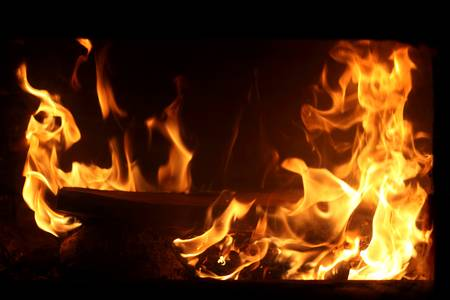 The fire in home fireplace