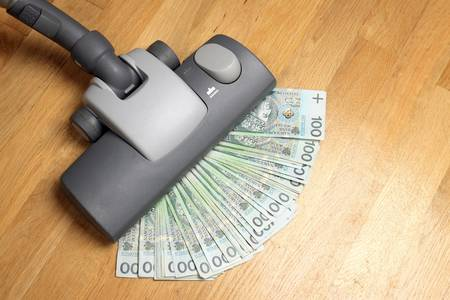 carpet clean: Vacuuming money polish money - PLN currency