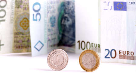 Euro & PLN money on white background photo
