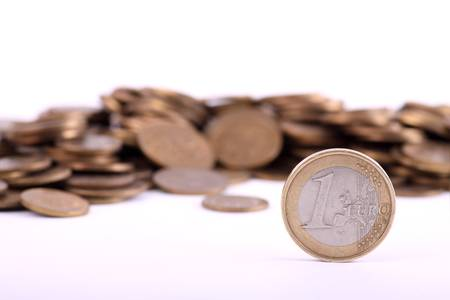 lien: Money euro on white background