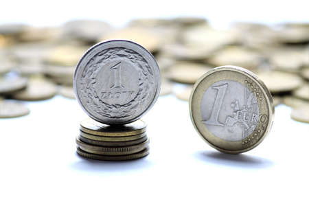 Euro currency on white background Stock Photo