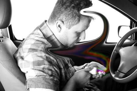 street drug: Drug addict man in the car