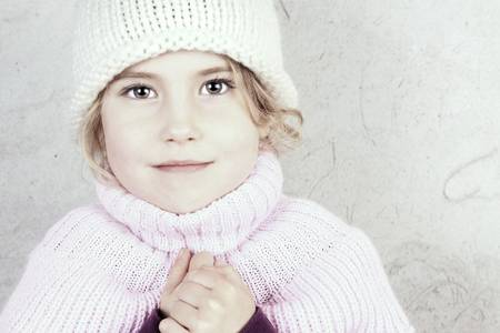 Adorable little girl outside on a frosty winter day Stock Photo - 16663322