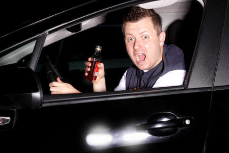 Drunk driver pulls into the path straight into another car Stock Photo - 19984819