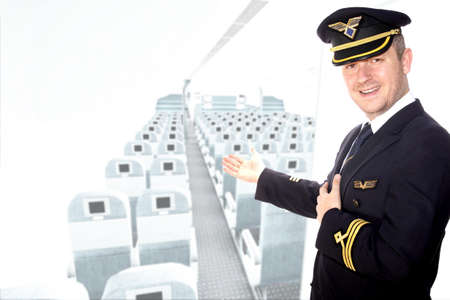 epaulets: Captain of the aircraft greets passengers