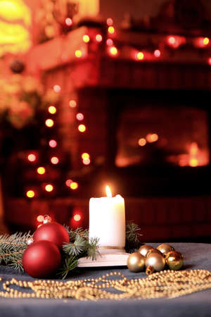 Christmas mood with baubles and candle  Stock Photo