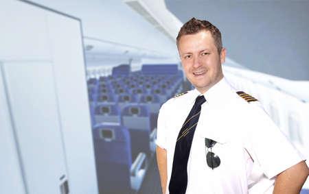 welcom:  Welcom aboard - smiling captain Stock Photo