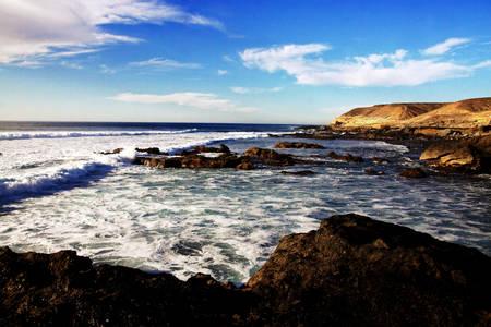 briny:  Canary Islands - rocks and ocean Stock Photo