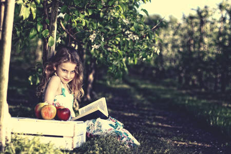 Pensive young girl reading a book photo