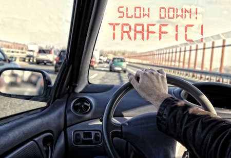 warning system announces the traffic jam photo