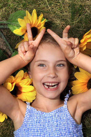 Funny laughing girl photo