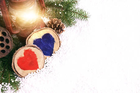 Christmas decoration wooden hearts photo
