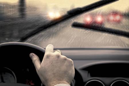 Rainy day in car 免版税图像 - 32213270
