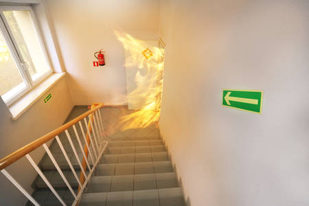 Big fire on the stair case photo