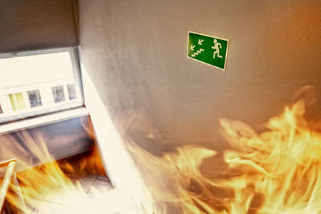 evacuate: Fire in the builgding - evacuate building way Stock Photo