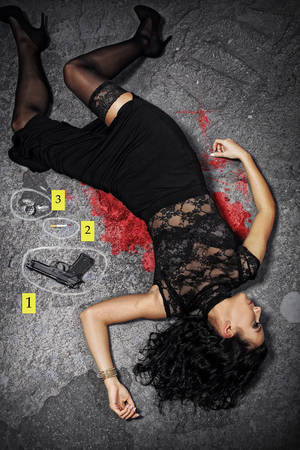 Murdered girl lying in the street - police investigation Stock Photo