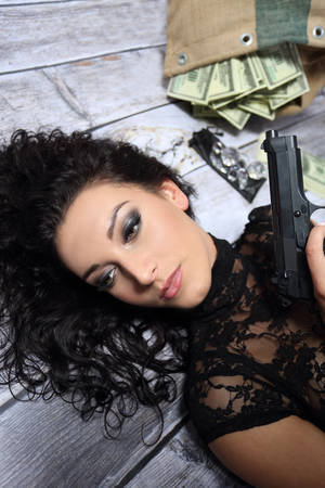 sexy police: Pretty girl with gun