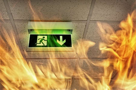 Fire in the building - emergency exit Standard-Bild