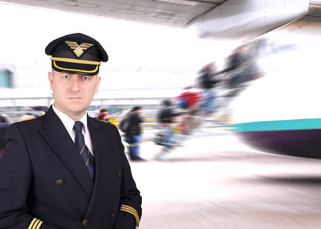 captain: Upset pilot waiting for the departure at the airport