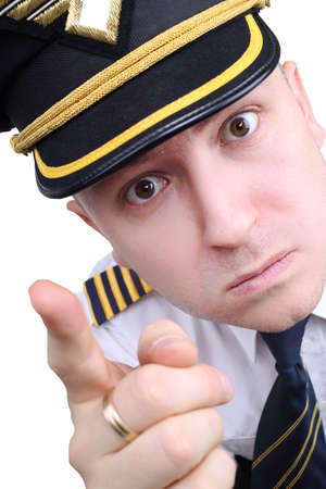 fidgety: angry captain on a white background