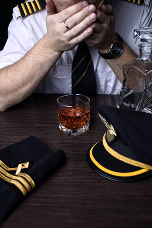 Desperate and plunged pilot drink alcohol