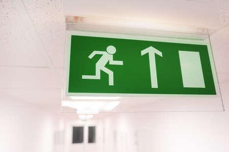 edifice: Emergency exit sign Stock Photo